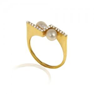 انگشتر طلا زنانه با نگین و مروارید کد cr410