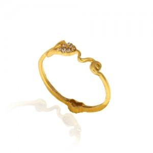 انگشتر طلا زنانه طرح love با نگین کد cr407
