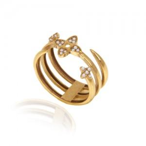 انگشتر طلا زنانه طرح گل با نگین کد cr419