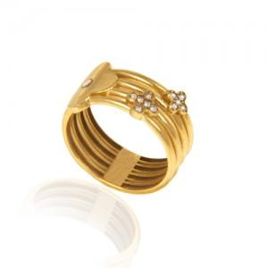 انگشتر طلا زنانه طرح ونکلیف با نگین کد cr422
