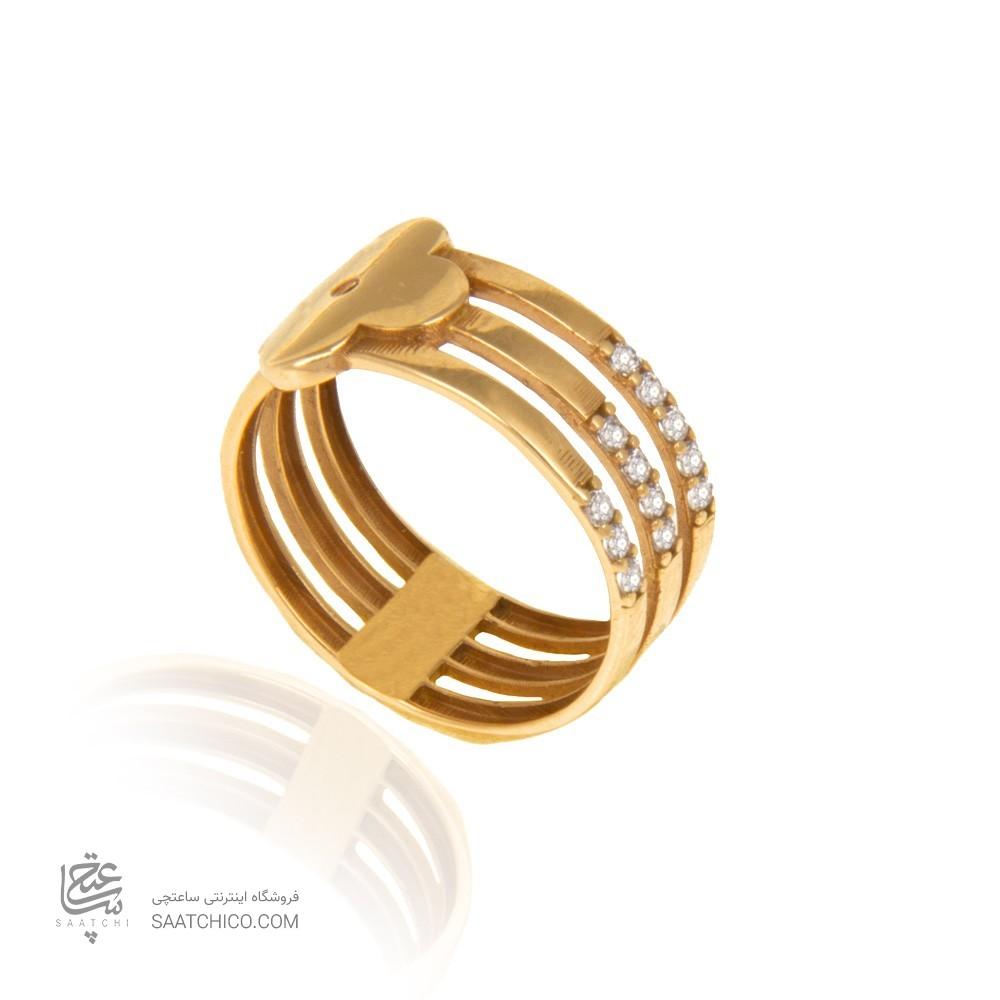 انگشتر طلا زنانه طرح ونکلیف با نگین کد cr423
