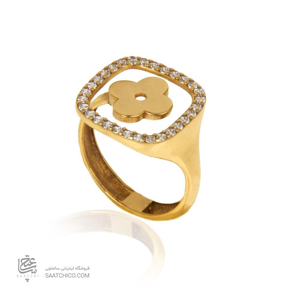 انگشتر طلا زنانه طرح ونکلیف با نگین کد cr424