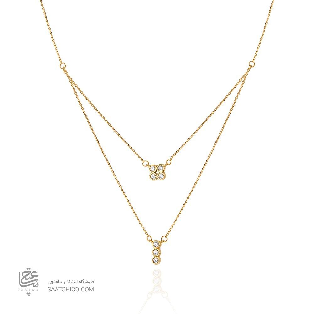 گردنبند طلا زنانه دو لایه کد cn377