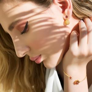 گوشواره طلا زنانه با گوی فیوژن کد ce337