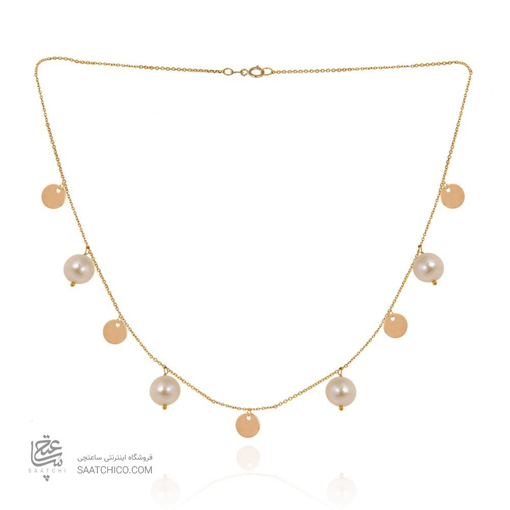 گردنبند طلا با مروارید کد xn140