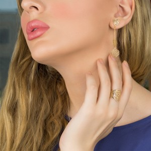 گوشواره طلا طرح گل شنل کد le612