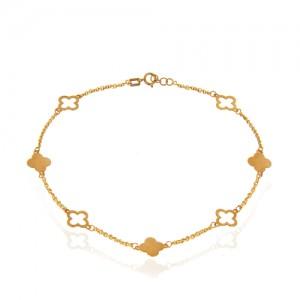 پابند طلا طرح گل چهارپر ونکلیف کد la702