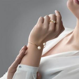 دستبند طلا با مروارید کد xb965
