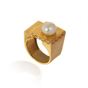 انگشتر طلا زنانه با مروارید کد cr430
