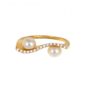انگشتر طلا زنانه با نگین و مروارید کد cr429