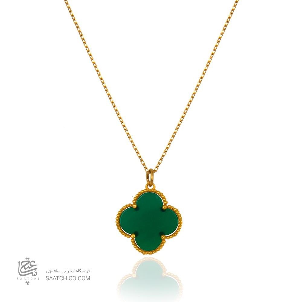 گردنبند طلا طرح گل چهار پر ونکلیف با سنگ کد xn316