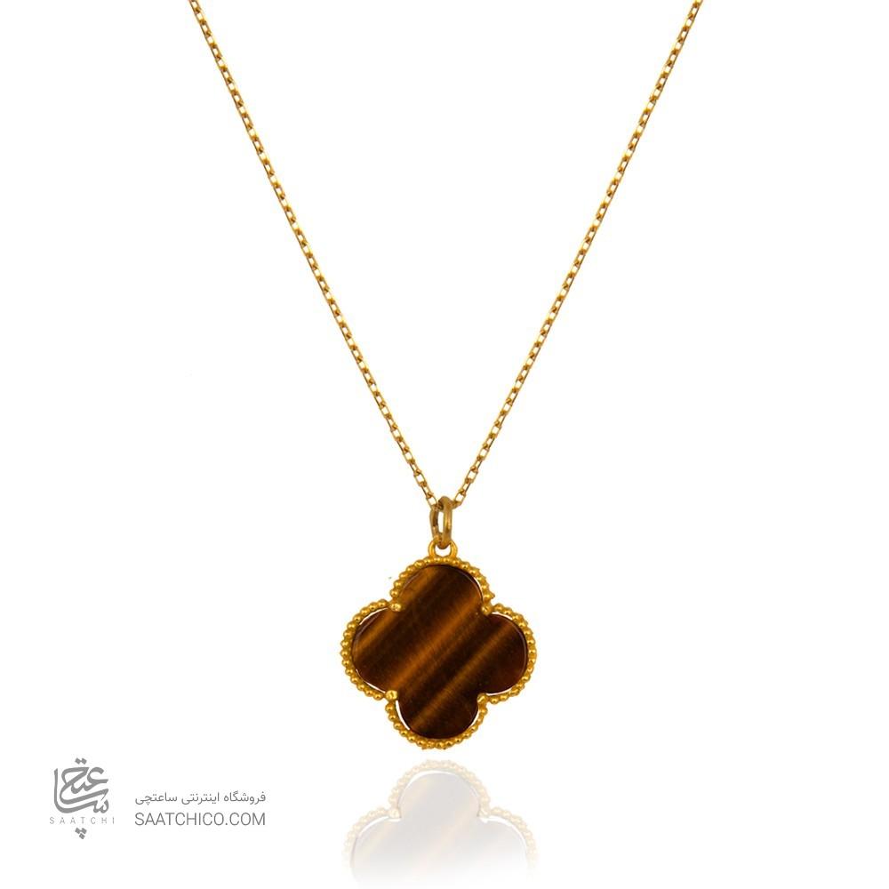 گردنبند طلا طرح گل چهار پر ونکلیف با سنگ کد xn317