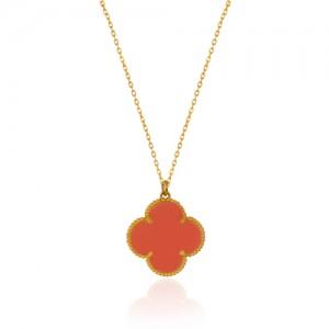 گردنبند طلا طرح گل چهار پر ونکلیف با سنگ کد xn318