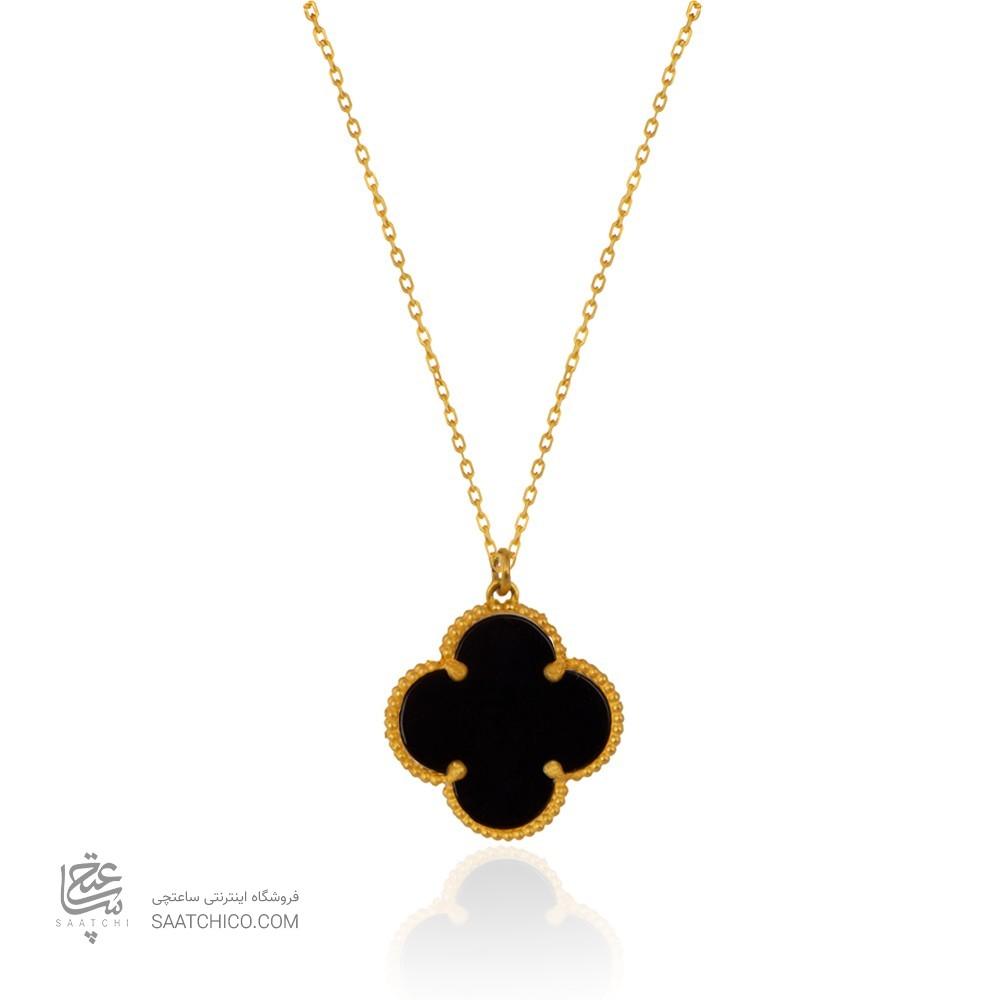 گردنبند طلا طرح گل چهار پر ونکلیف با سنگ کد xn319