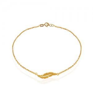 پابند طلا زنانه طرح پر کد ca405