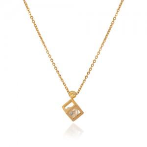 گردنبند طلا زنانه طرح مکعب با کریستال کد xn321