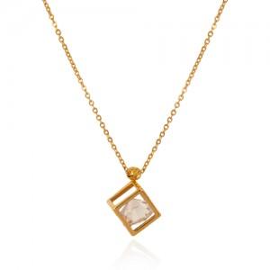 گردنبند طلا زنانه طرح مکعب با کریستال کد xn320