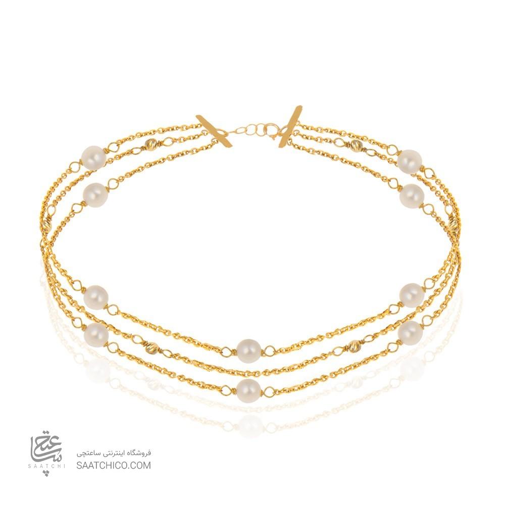 دستبند طلا زنانه با مروارید و گوی البرنادو کد xb720
