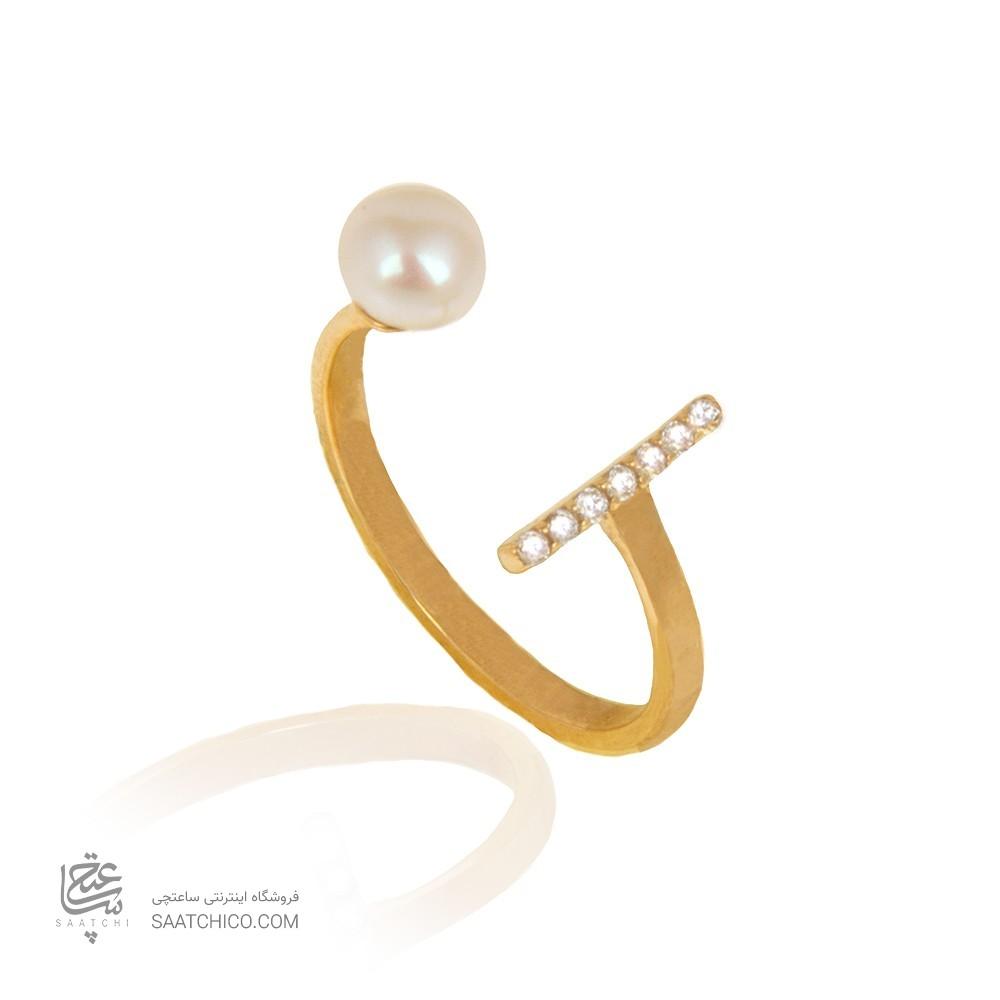 انگشتر طلا با نگین و مروارید کد cr431