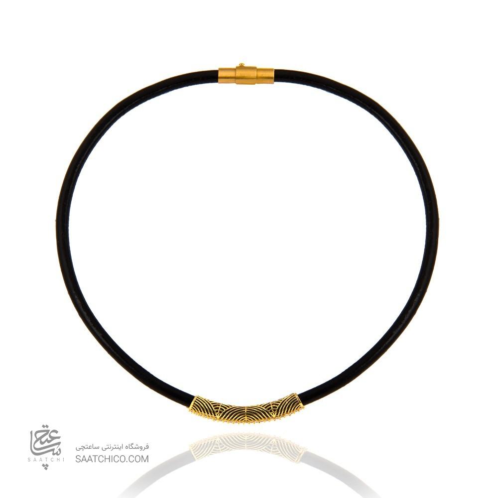 گردنبند چوکر چرم و طلا با نگین کد xn323