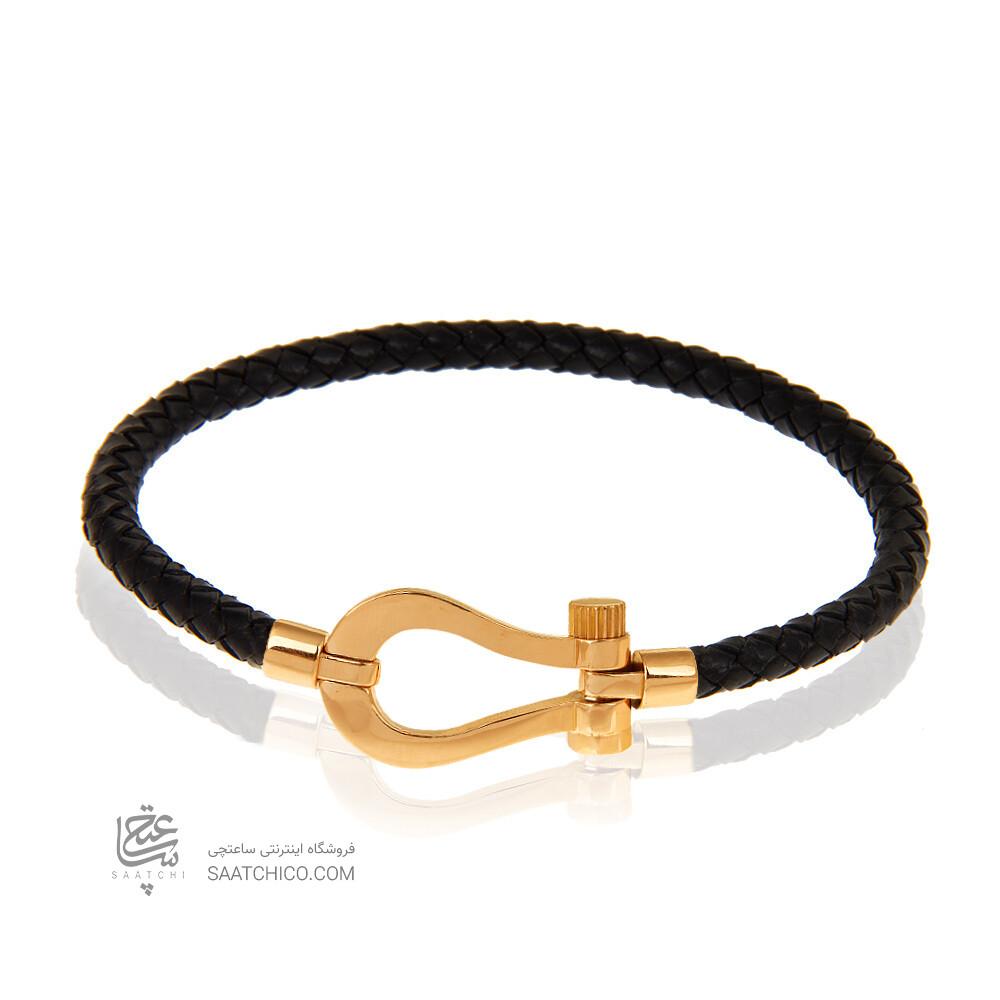 دستبند چرم و طلا زنانه طرح فرد کد XB968