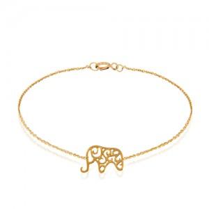 دستبند طلا کودک طرح فیل کد kb325