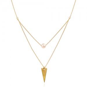 گردنبند طلا زنانه دو لایه با مروارید کد xn142