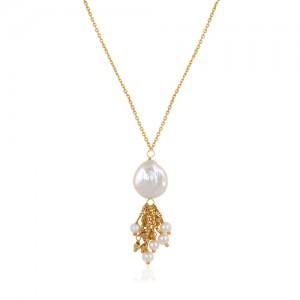 گردنبند طلا زنانه با مروارید باروک کد xn141