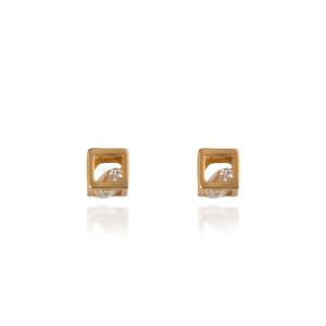 گوشواره طلا زنانه طرح مکعب با کریستال کد XE237
