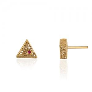 گوشواره طلا طرح فیوژن مثلث با نگین کد ce343