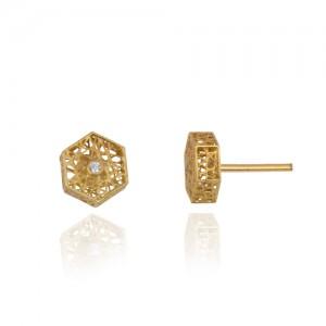 گوشواره طلا طرح فیوژن شش ضلعی با نگین کد ce342