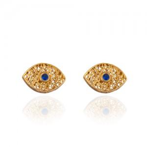 گوشواره طلا طرح چشم فیوژن با سنگ کد ce339