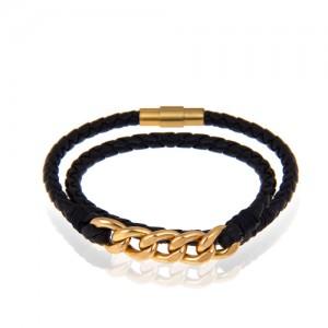 دستبند چرم و طلا مردانه طرح کارتیه کد mb114