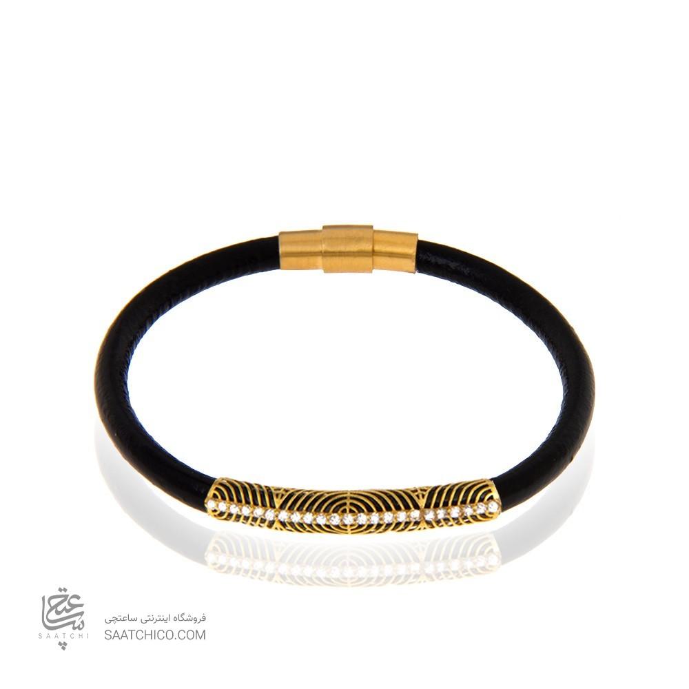 دستبند چرم و طلا زنانه با نگین کد XB970
