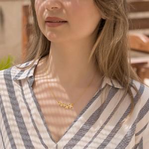 گردنبند طلا زنانه طرح گل چهارپر ونکلیف کد xn324
