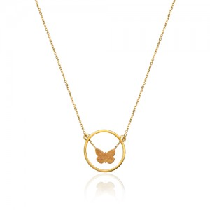 گردنبند طلا زنانه با پروانه دو رو کد ln822