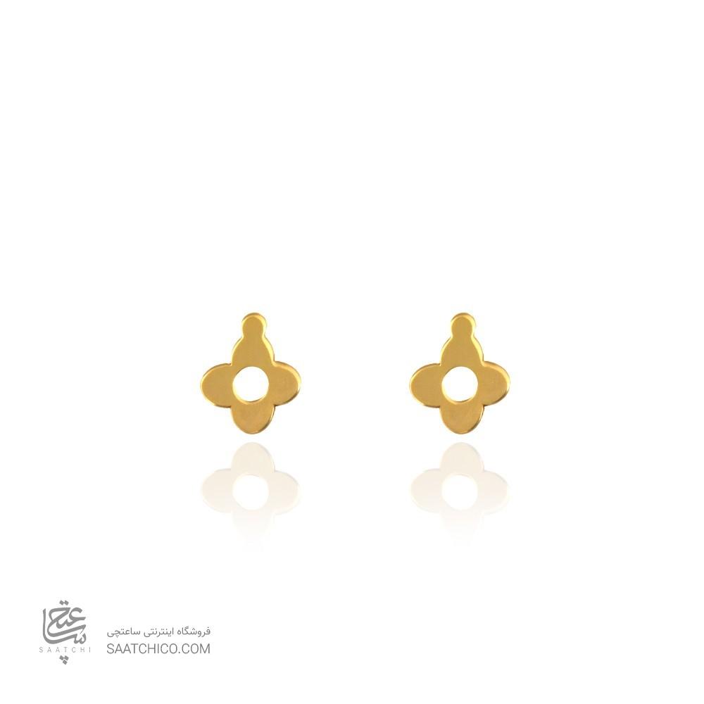 گوشواره طلا طرح گل چهار پر ونکلیف کد le614