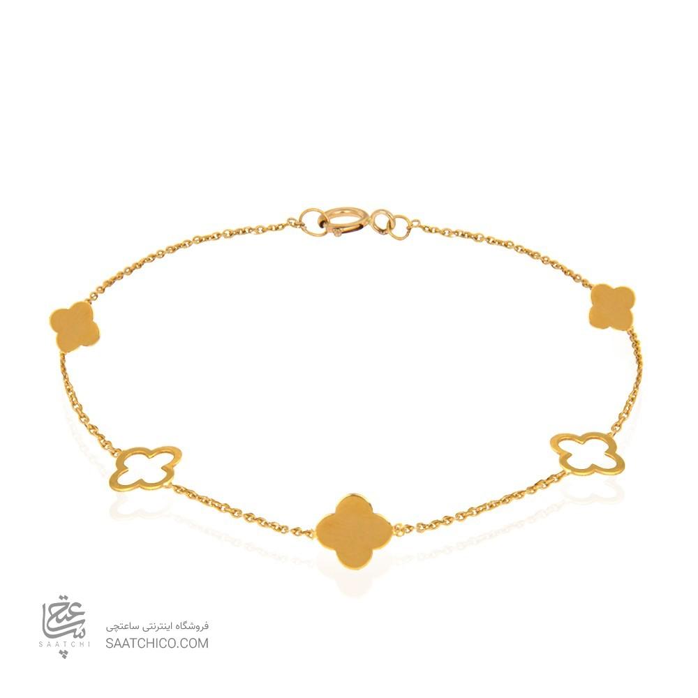 دستبند طلا زنانه طرح گل چهار پر ونکلیف کد lb103