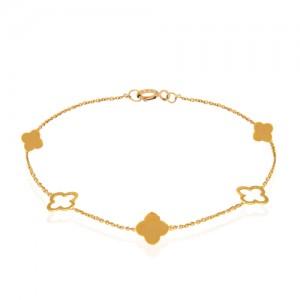 دستبند طلا زنانه طرح گل چهار پر ونکلیف کد cb352