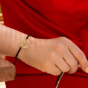 دستبند طلا زنانه با پلاک طرح شعر کد xb985