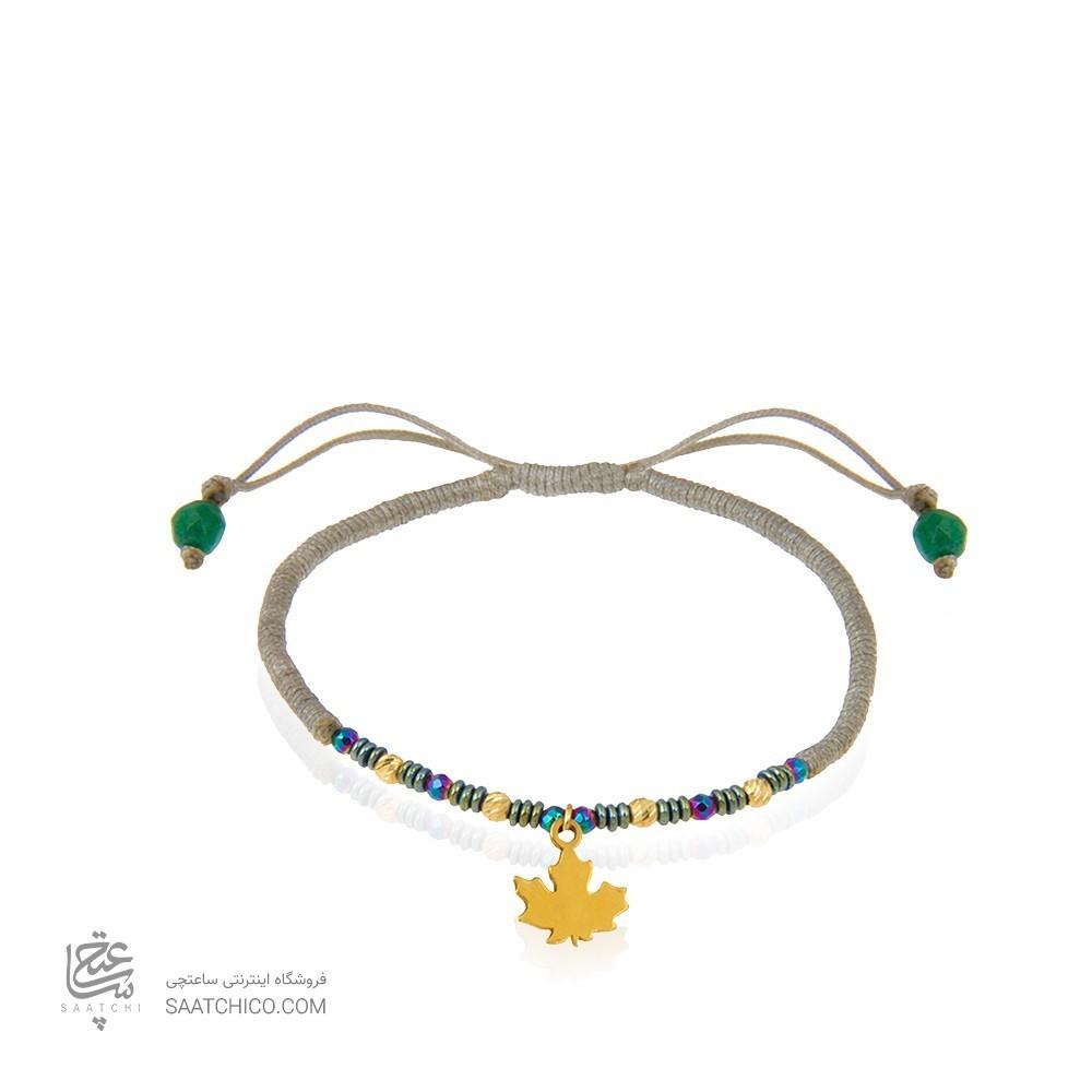 دستبند طلا زنانه طرح برگ با گوی البرنادو کد xb984
