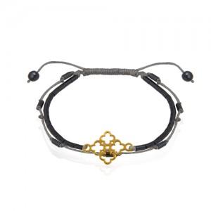 دستبند طلا زنانه طرح گل چهار پر ونکلیف کد xb977