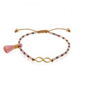 دستبند طلا زنانه طرح بی نهایت کد xb976