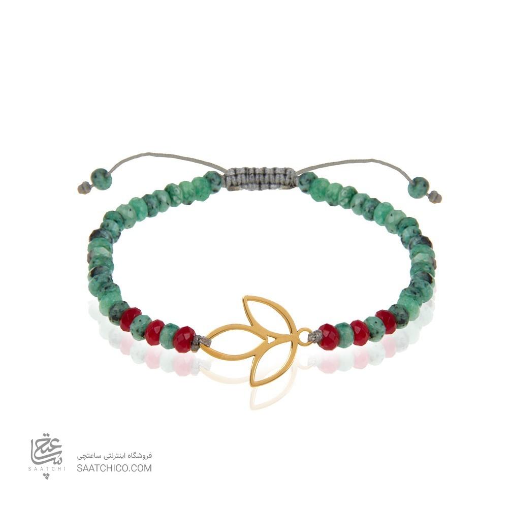 دستبند طلا زنانه طرح گل لاله کد xb975