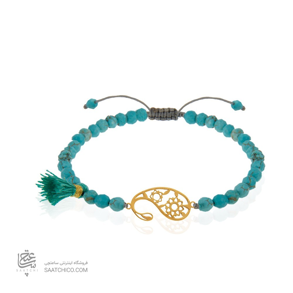 دستبند طلا زنانه طرح بته جقه کد xb974