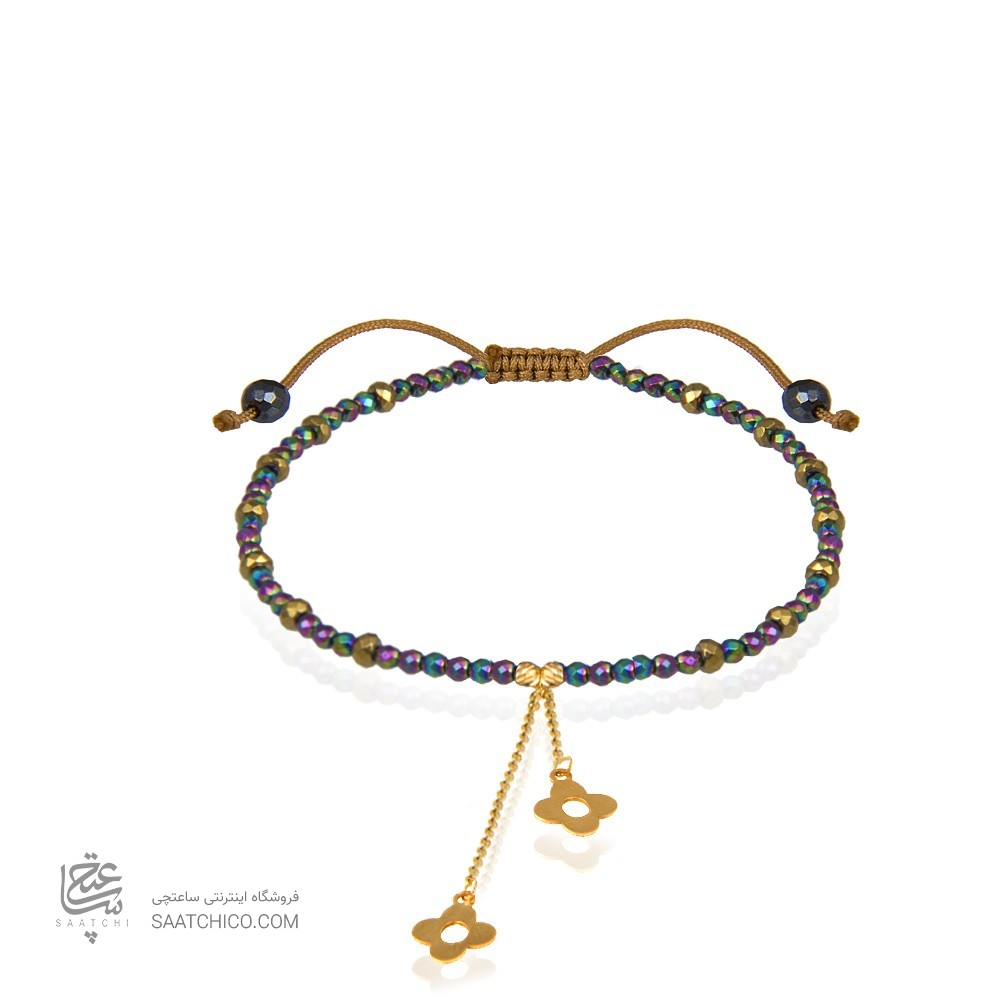 دستبند طلا زنانه با آویز گل چهارپر ونکلیف کد xb972