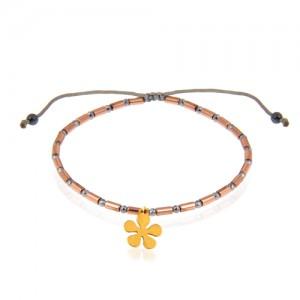 دستبند طلا زنانه با آویز گل کد xb969