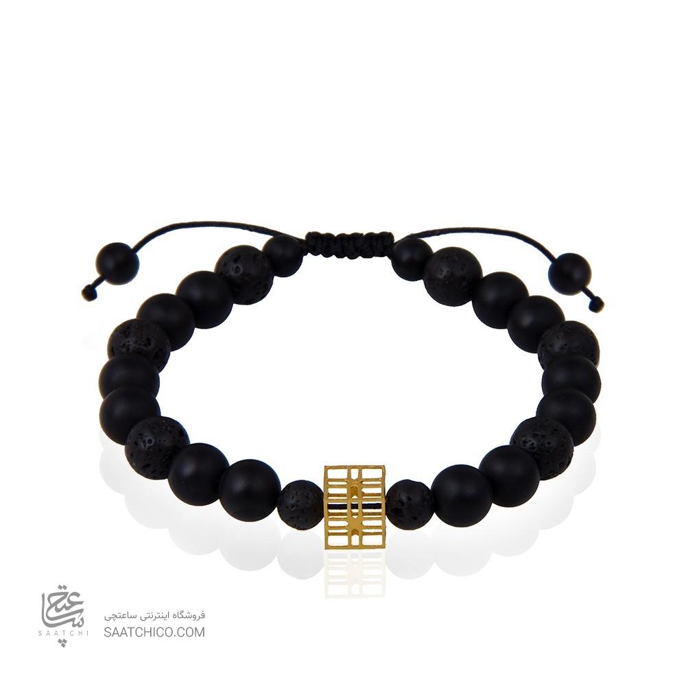 دستبند طلا مردانه طرح هندسی کد mb115