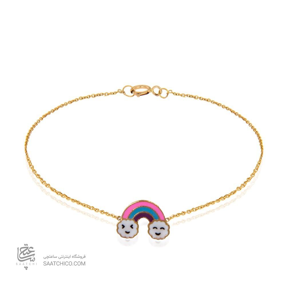 دستبند طلا کودک طرح رنگین کمان کد kb326