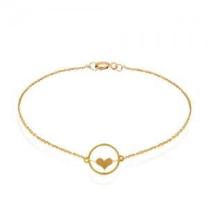 دستبند طلا زنانه طرح قلب کد LB104